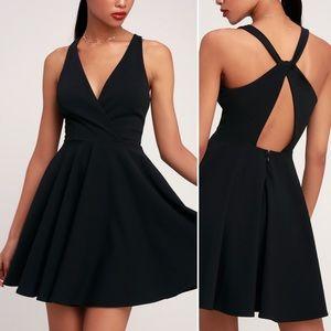 Lulus • Wonder Whirl Twist Back Skater Dress Black